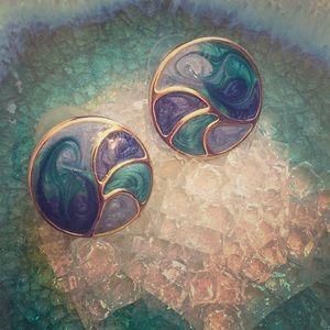Vintage Enamel Jewelry Earrings